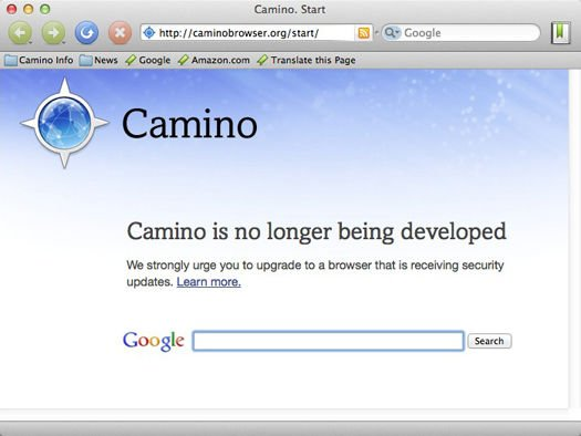 Launch Camino on Friday, May 31, 2013 or thereafter, and here's what you'll see