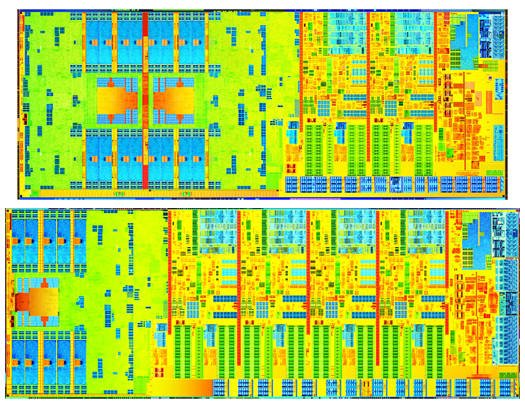 Dual-core and quad-core 4th Generation Intel Core processor dies
