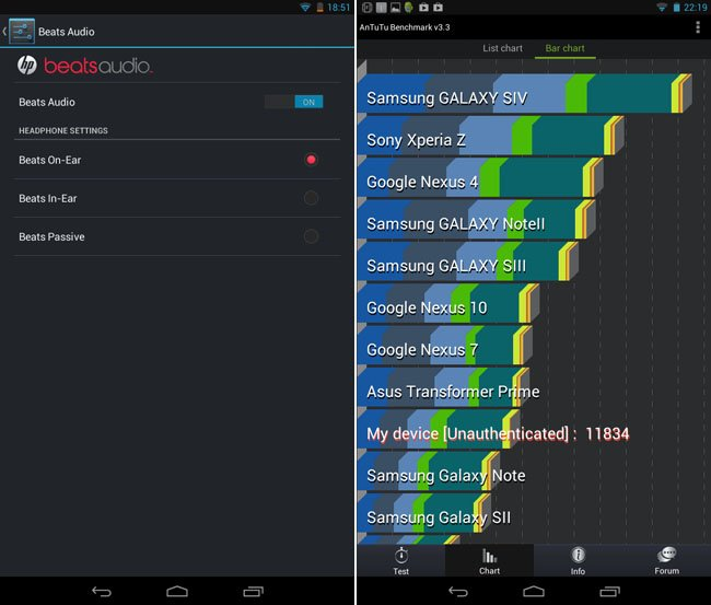 HP Slate 7 Android tablet Beat options and AnTuTu scores