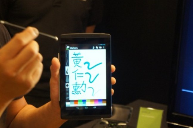 A tablet being used with a pen
