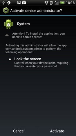Screenshot showing Obad Android Trojan activity