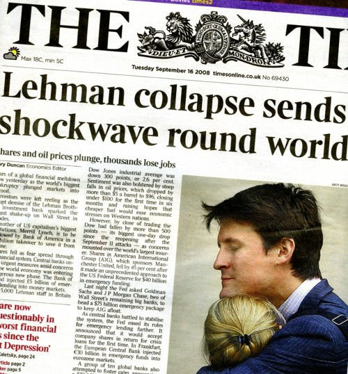 The Times on the day Lehman Brothers went under