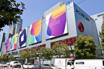 Signs on the Metreon, across the street from San Francisco's Moscone West, in preparation for Apple's Worldwide Developers Conference