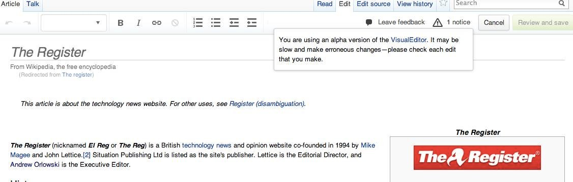 The new Visual Editor for Wikipedia
