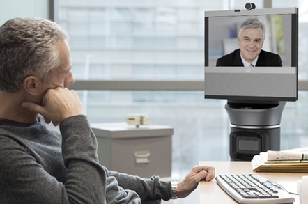 The AVA500 robot in a meeting