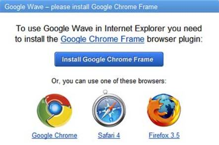 Google Chrome Frame warning window