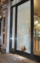 Damage to the Apple Store window