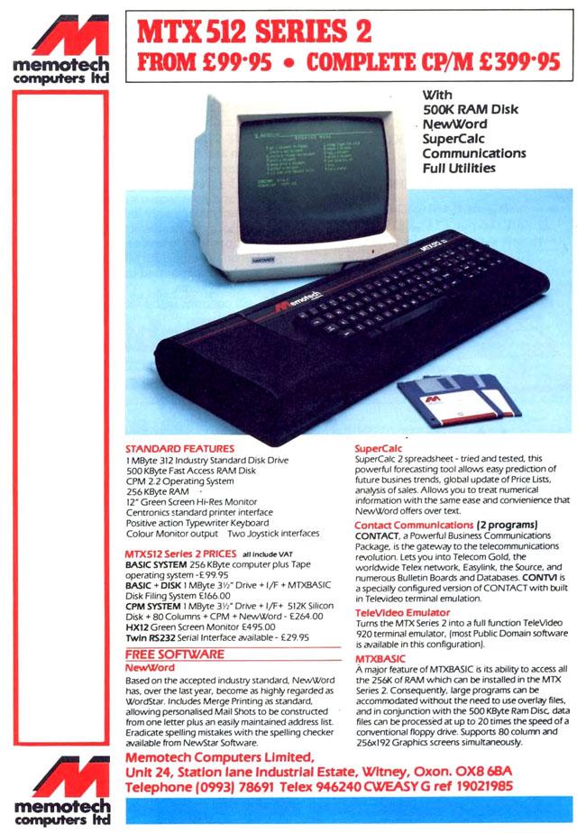 Memotech MTX 500 ad