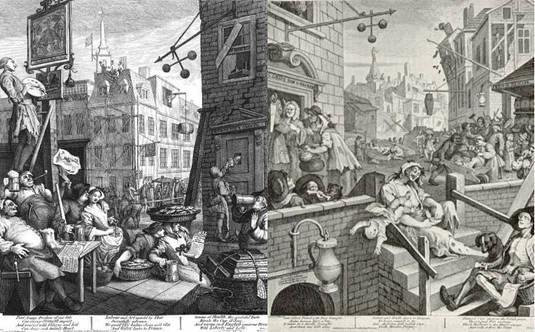 Hogarth's 'Beer Street' and 'Gin Lane'