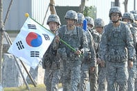 South Korean soldiers commemorating the Korean War