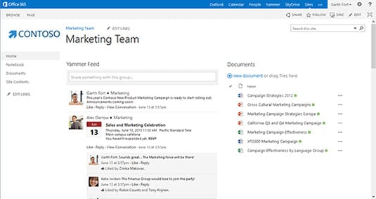 Screenshot of Yammer feeds hosted in a SharePoint 2013 site