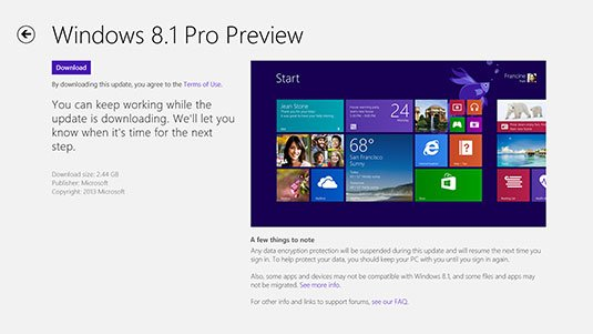 Screenshot of the Windows 8.1 Preview installer