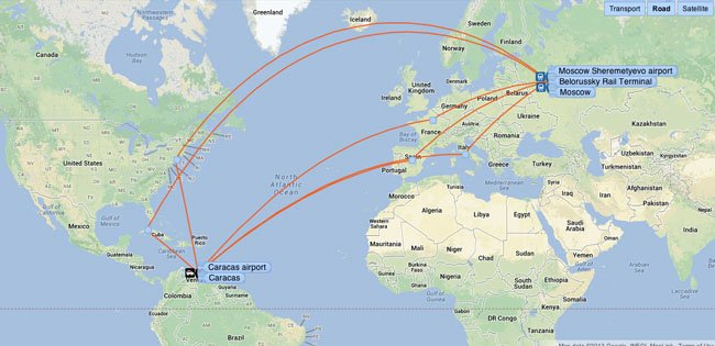 Moscow (SVO) to Caracas (CCS) indirect flight paths