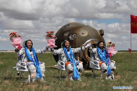 Taikonauts Zhang Xiaoguang, Nie Haisheng and Wang Yaping (from left to right)