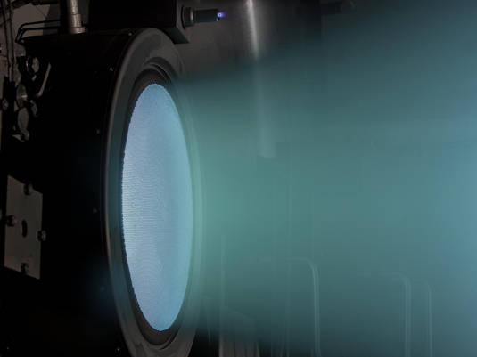 Ion beam produced by NASA's Evolutionary Xenon Thruster (NEXT)