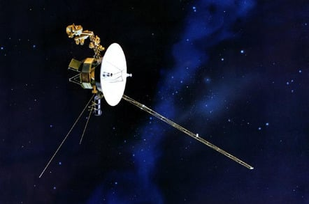 Artist's concept of the Voyager spacecraft in space.
