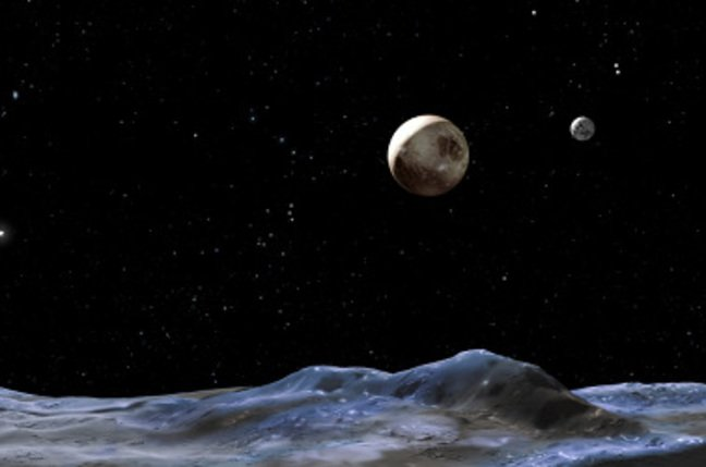 artist's concept above shows the Pluto system from the surface of one of the candidate moons
