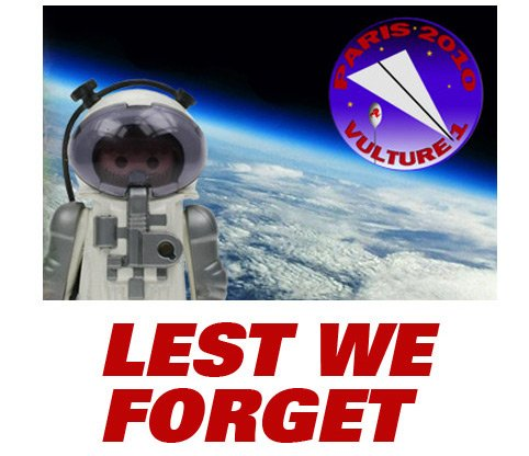 Artwork showing our heroic Playmonaut and the legend 'Lest we forget'