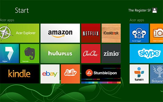 Screenshot showing Acer's preinstalled Windows 8 apps