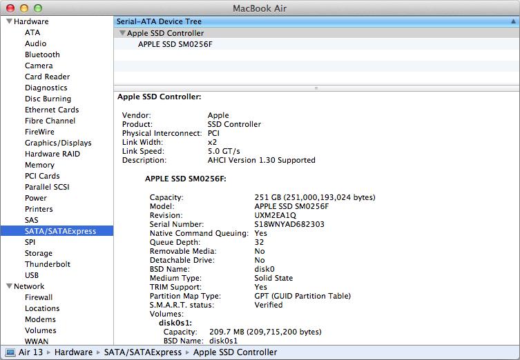 Apple MacBook Air 13-inch 2013 Sata Express