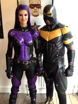 Superheroes Phoenix Jones and Purple Reign