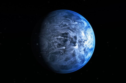 Artist's impression of deep blue planet HD 189733b