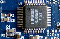 USB flash storage chip close-up