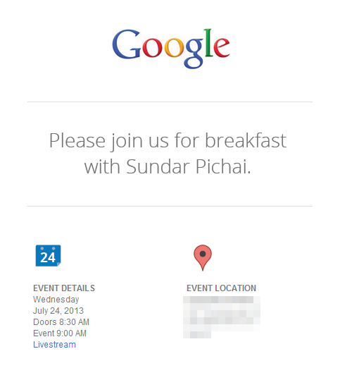 Google's email invite to a press event on July 24, 2013