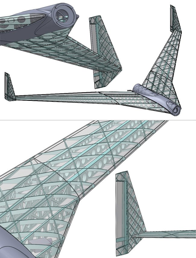 Montage of CAD images of sections of the Vulture 2