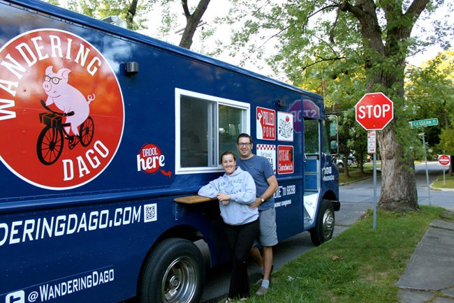 Andrea Loguidice and Brandon Snooks pose with their Wandering Dago truck. Pic: Facebook/Wandering Dago
