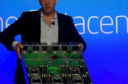 Intel cloud GM Jason Waxman shows off a three-node server chassis with virtualized I/O