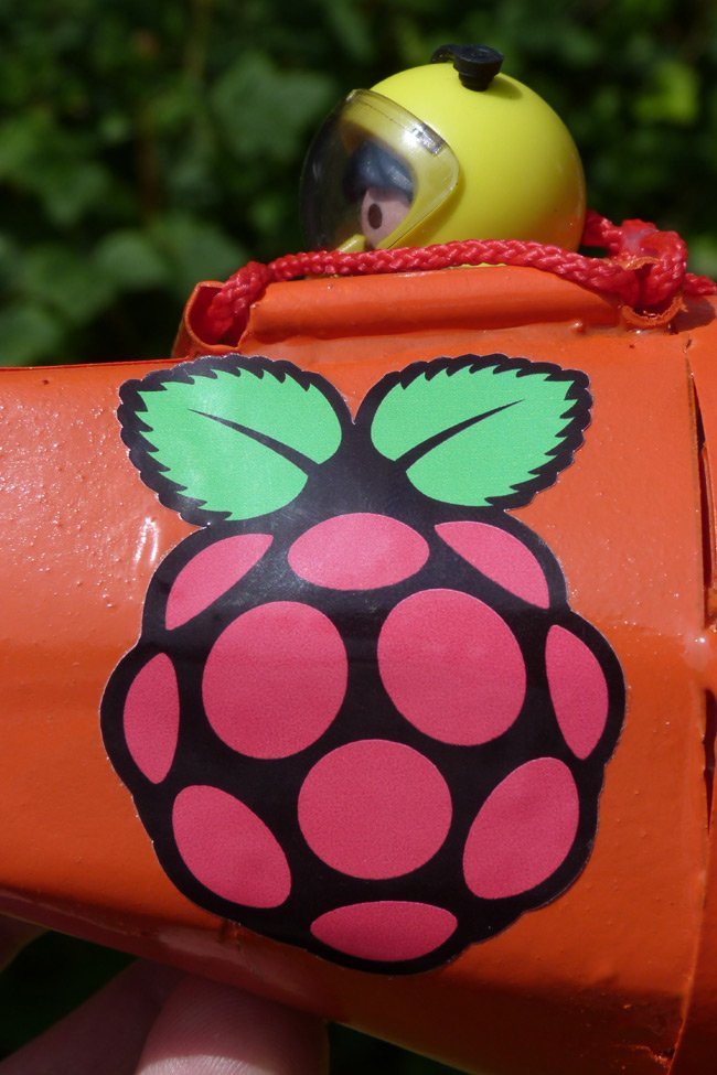 The Raspberry Pi logo on the CHAV nose podule