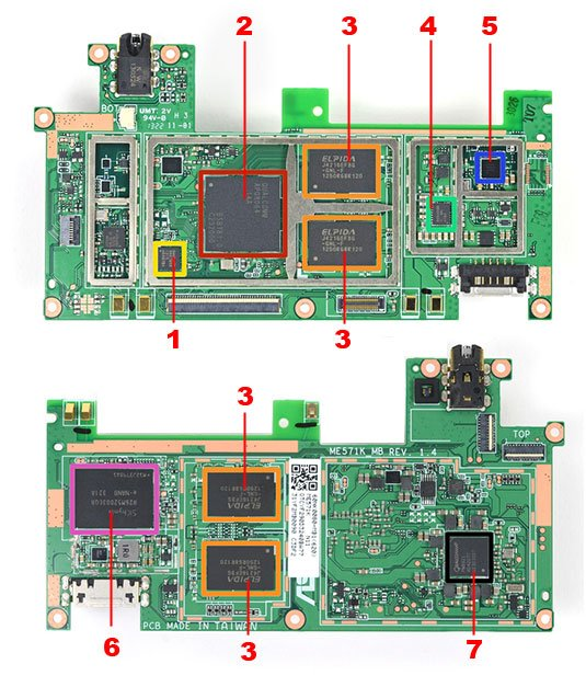 Photo of the Nexus 7 motherboard, with labels