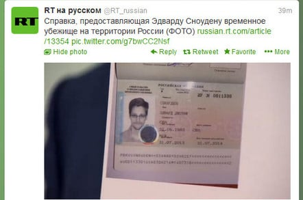 Edward Snowden's asylum documents. Source: RT