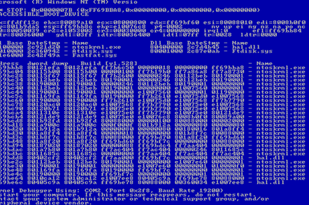 Windows NT blue screen of death