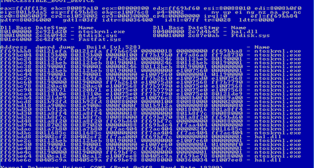 Windows NT blue screen of death