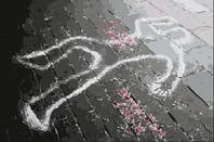 chalk outline of  human body at crime scene