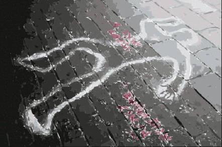 chalk outline of  human body at crime scene