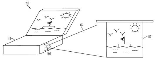 Illustration of pico projector–equipped laptop in Apple's patent, 'Display system having coherent and incoherent light sources'