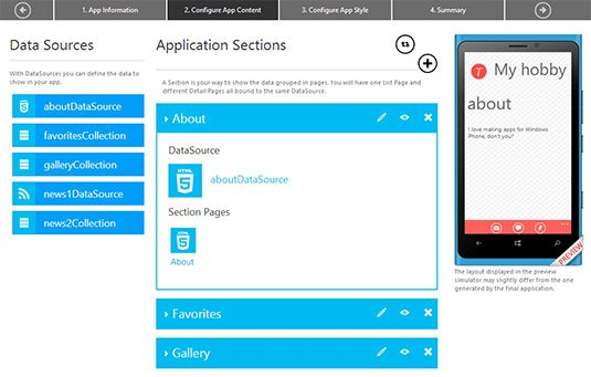 Screenshot of Windows Phone App Studio