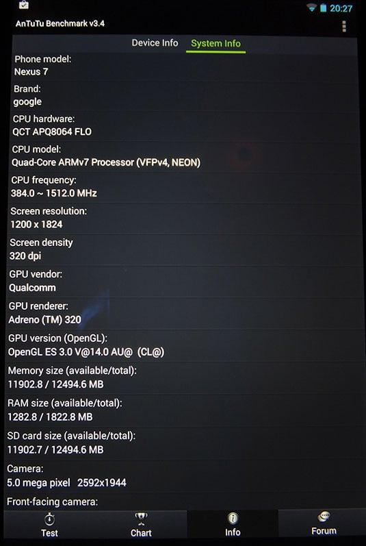 Google Nexus 7 2 AnTuTu info