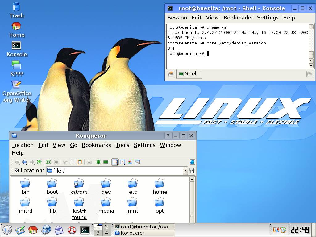 Screenshot of KDE desktop running on Debian 3.1