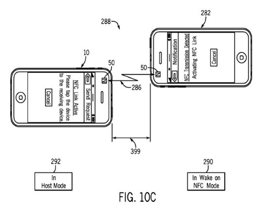 Illustration from Apple patent application for NFC-enabled iTunes content gifting