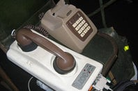 Photo of a vintage analog modem with an acoustic coupler