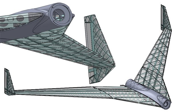 Unfinished CAD views of the Vulture 2 fuselage and wings