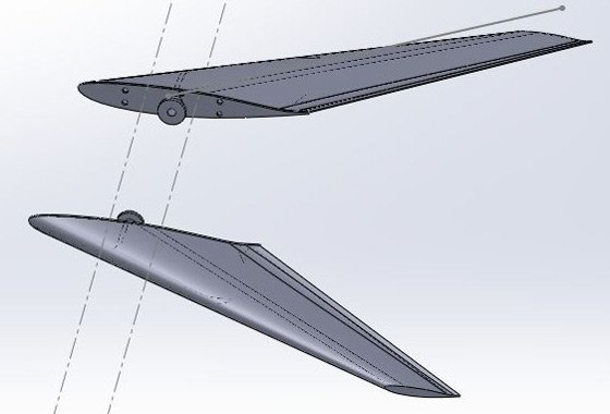 CAD view of the Vulture 2's canards