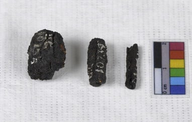Three of the nine ancient beads from Gerzeh, Egypt