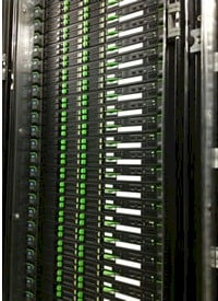 A rack of Primergy servers in a prefab data center at Yahoo! Japan