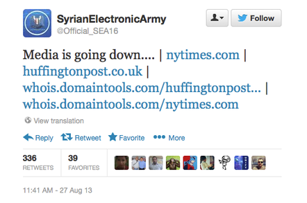 Syrian Electronic Army threat tweet