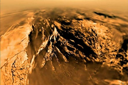 ESA's Huygens probe image of a mountain on the surface of Titan